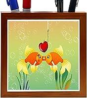 Rikki Knight Goldfish in Love illustration Design 5-Inch Tile Wooden Tile Pen Holder (RK-PH44613) [並行輸入品]