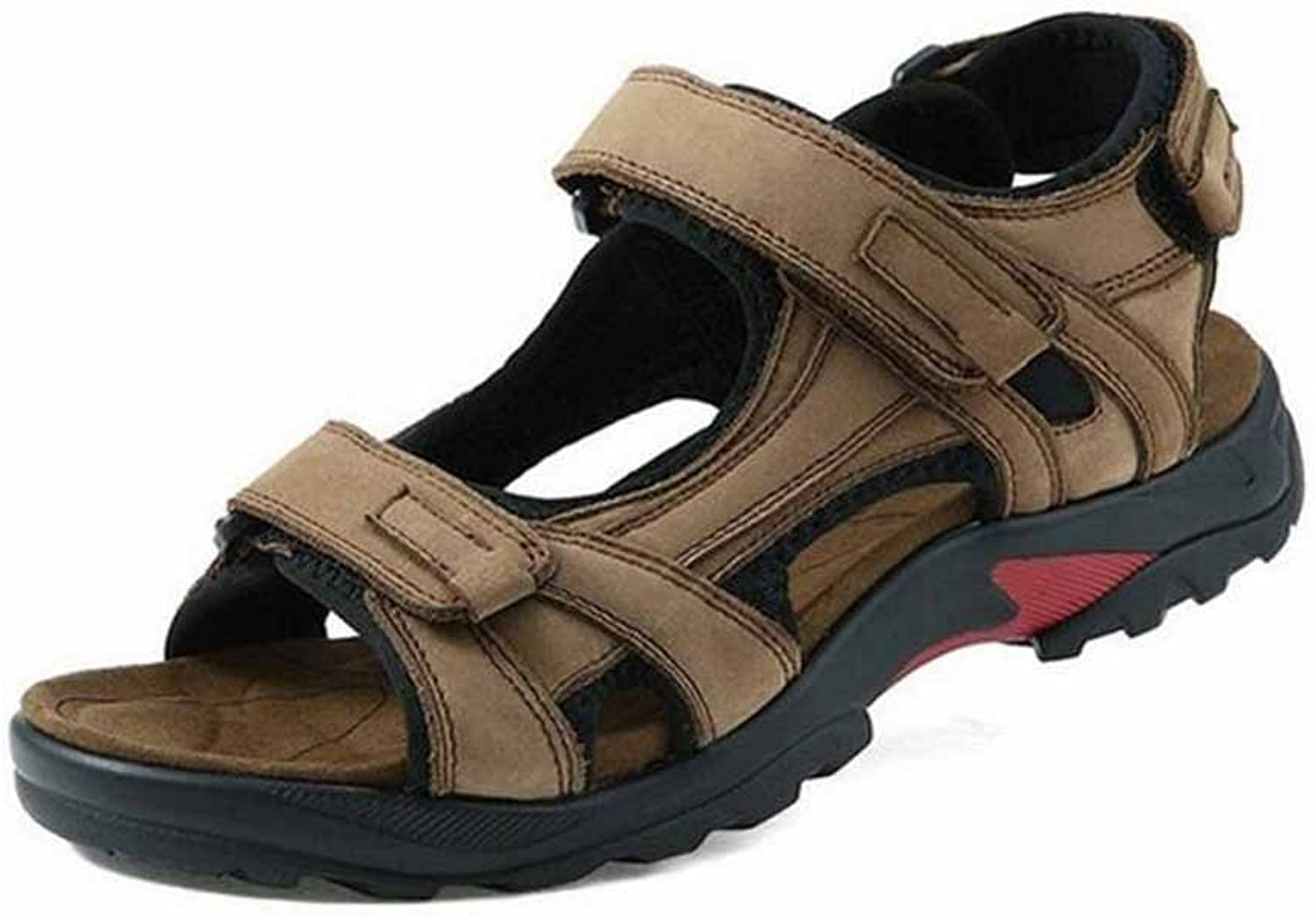 GLSHI Men Outdoor Open Toed Sandals Men Leather Beach shoes Sports Sandals Large Size