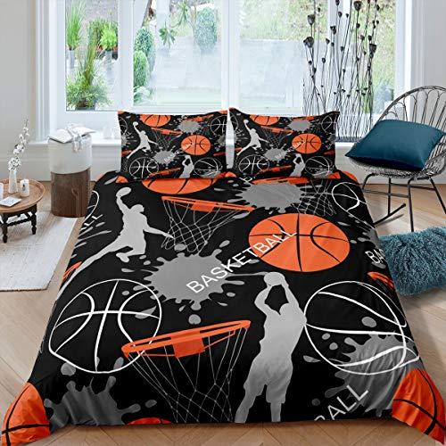 Jogo de cama de basquete Feelyou para meninos e meninas Tema esportivo 3D Basketball Star Slam Dunk Edredom Capa de edredom de microfibra para decoração de roupas de cama 3 peças com 2 fronhas Queen