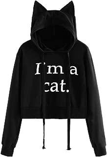 VEFSU Women Hooded Letter Print Long Sleeve Cat Ear Hoodie Short Sweatshirt Loose Pullover Tops Blouse
