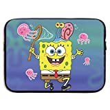 CHLING Spongebob Catches Octopus Neoprene Laptop Sleeve Case Bag Cover Compatible 13-15 Inch MacBook Pro/MacBook Air/Notebook