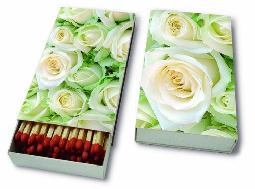 Brandhout White Roses – witte rozen/bruiloft/bloemen - 45 lucifers