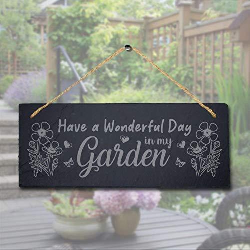BYRON HOYLE Have Wonderful Day In My Garden - Targa in legno da appendere al laser da giardino in legno, 15 x 14 cm, decorazione da parete per interni ed esterni