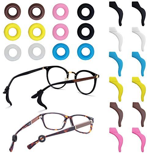 FineGood 12 Pares de Retenedores de Gafas, Lentes Antideslizantes de Silicona Consejos para el Templo Retenedores de Manga Deportivos para Gafas de Sol Gafas...
