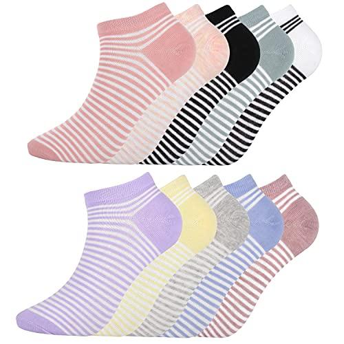 DarkCom 10 Paar Damen Knöchel Socke Streifen Muster Mehrfarbig, Geschenke für Frauen