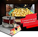 Shoppers Hub PNQ Gas Based Single Pot Manual Stirring Popcorn Machine, Non-Stick Inner Pot and Hand Crank, High-Capacity Popcorn Maker Ideal for Commercial Use in Hotels, Cafes, Restaurants and Catering