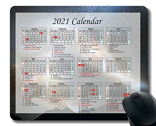 Gaming Mouse Pad 2021 Year Calendar with Holiday,Saturn Equinox Planet Rings Space Cosmos Universe Mouse Pad with Stitched Edge