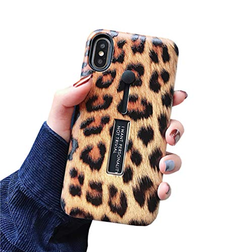 Duolaa iPhone XR Case, Embossed Leopard Rugged Shockproof Slim Fit Grip Holder Dual Layer Finger Ring Loop Strap Case Cover with Finger Strap Kickstand Case for iPhone XR 6.1 inch 2018 Release