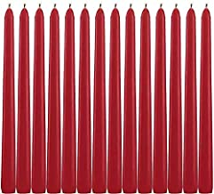 "YYHC Dripless Taper Candles 10"" Inch Tall Wedding Dinner Candle Set of 14 (Red)"