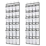 SAVERHO Hanging Shoe Organizer, Over The Door Shoe Organizer with 24 Mesh Large Pockets Door Shoe Rack for Men Women Kids Hanging Door Shoe Holder Size:58x21 Inch (White-2pack)