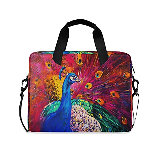 JNlover Animal Peacock Oil Painting Laptop Bag 16 inch, Portable Sleeve Briefcase Laptop Case Notebook Computer Carrying Case Bag for Women Men