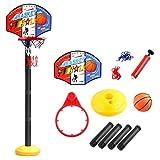 Buding Verstelbaar - Juego de baloncesto para niños y bebés, canasta de baloncesto con soporte, altura regulable de 49 a 112 cm, juego de baloncesto