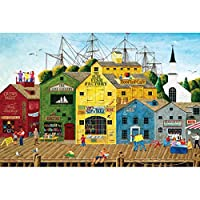 WOAIZJ 絶妙なインポートされた品質の大人の500ピース木製パズル知育玩具漫画の油絵装飾的な絵画バリのない町 WOAIZJ(Color:E)
