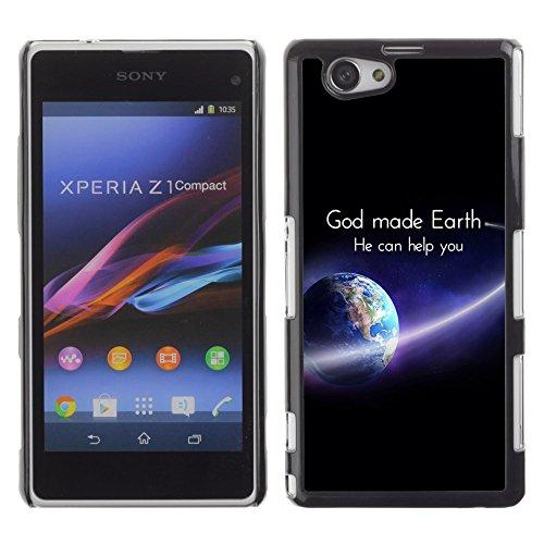 DREAMCASE Bibelzitate Bild Hart Handy Schutzhülle Schutz Schale Case Cover Etui für Sony Xperia Z1 Compact D5503 - Gott hat die Erde, kann er Ihnen helfen