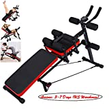 Erwazi Core&Abdominal Trainers AB Workout Machine, Whole Body Workout Equipment for Leg, Thighs, Buttocks, Sit-up Exercise Home Ab Trainer Beauty Waist Machine, Height Adjustable Weight Bench (Black)