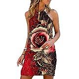 Vestido de Playa de Verano para Mujer, Vestido con Hombros Descubiertos y Estampado Floral Vintage, Elegante, sin Espalda, con Anillo de Metal, Minivestido de Fiesta con Cuello Halte