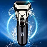 Electric Razor for Men,Electric Shavers Dry Wet Waterproof Mens Foil Shaver, Portable Facial Cordless Shaver Travel USB Rechargeable with Pop-up Trimmer LED Display for Shaving Husband Dad