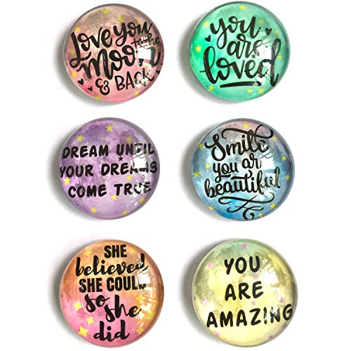 akeke Inspirational Quote Moon Refrigerator Magnets set of 6 Gifts for Kids Girls Friend Students Classroom Whiteboard Locker Magnets