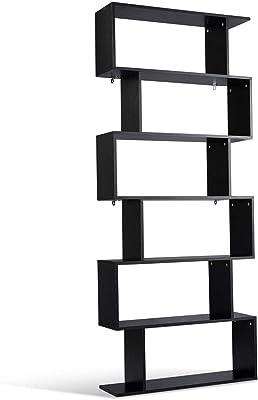 6 Tier S Shaped Bookcase Z Shelf Style Storage Display Modern Bookshelf Black