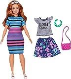 Barbie Fashionistas poupée mannequin #84 rousse avec robe à rayures bleues et roses, fournie avec deuxième tenue, jouet pour enfant, FJF69