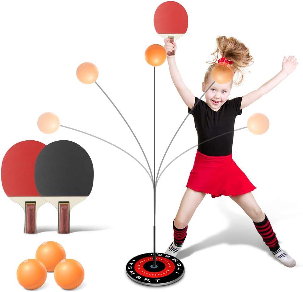 Laelr Mesa de Ping Pong Instructor, Entrenamiento del Equipo del Kit con elástico Suave Eje Conjunto de paletas con 2 Mesa de Ping Pong de la Paleta del Ping-Pong 3 Bolas y Base Antideslizante