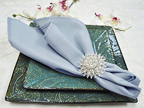 Wedding Linens Inc. 10 pcs 20' x 20' Polyester Table Napkins, Polyester Napkin for Restaurant Kitchen Dining Wedding Party Banquet Events - Dusty Blue