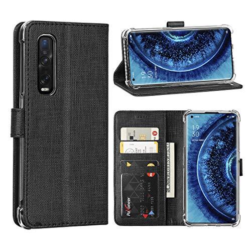 FUNMAX+ Oppo Find X2 Pro 5G Hülle, PU Leder Handyhülle mit 3 Kartenfächer, Schutzhülle Hülle Tasche Magnetverschluss Flip Cover Stoßfest für Find X2 Pro (Schwarz)