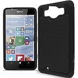 Lumia 950 Case, CoverON [HexaGuard Series] Slim Hybrid Hard Phone Cover Case for Microsoft Lumia 950 - Black & Black