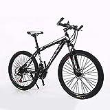Bicicleta de montaña de doble disco para hombre, 26 pulgadas, 21 velocidades, color negro
