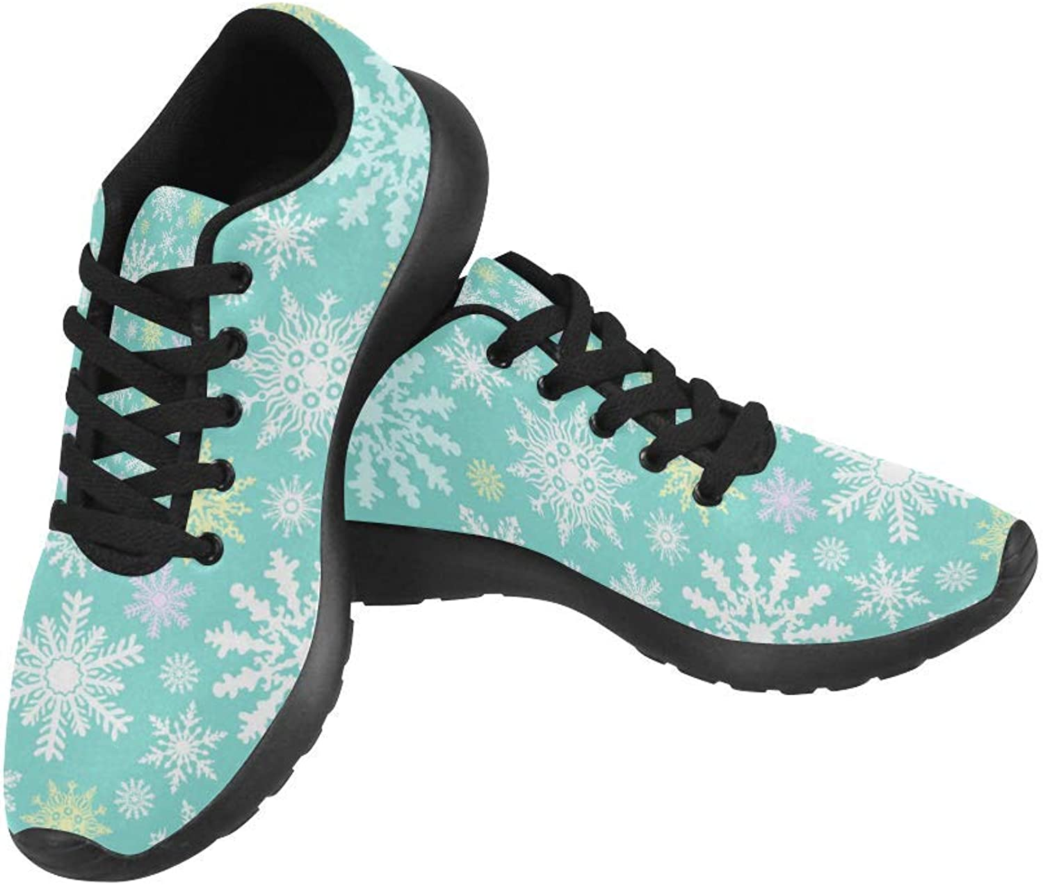 InterestPrint Winter Snowflake Pattern Print on Women's Running shoes Casual Lightweight Athletic Sneakers US Size 6-15