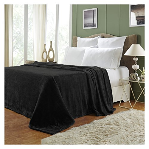 Superior Quality All-Season, Plush, Silky Soft, Fleece Blankets and Throws, Black, Throw