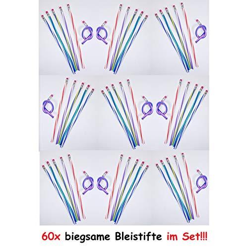 1a-becker 60 x potloden buigzame stift met gum flexibele gum voor kinderen kleurrijk