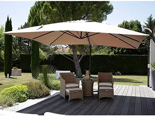 AJH Sonnenschirme Sonnenschirm Rechteck Rechteck 3X4m 360 & deg;Drehbar, für Außenterrasse Garden Balcony Beach