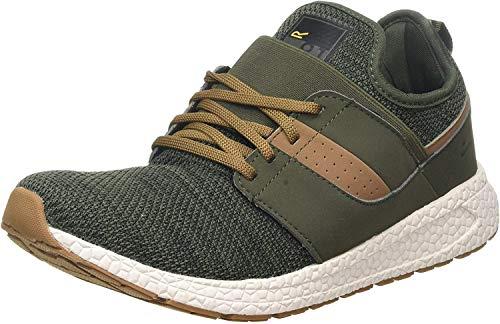 Regatta Herren R-81 Knit Sock Fit Casual Trainer Sneaker, Grün (Dark Khaki/Saddle Nkb), 39 EU