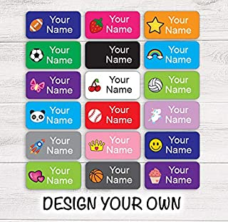 Custom Clothing Labels Easy Stick On for Camp Daycare School 56 pcs- Waterproof Laundry Safe
