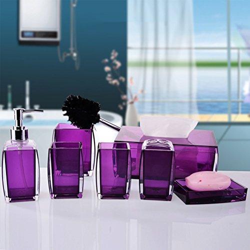 Dusche dispenser,Glas klar Hand sanitizer flasche,Set Waschbecken zubehör Seife flaschen Gel-duschkabine Shampoo box-Lila