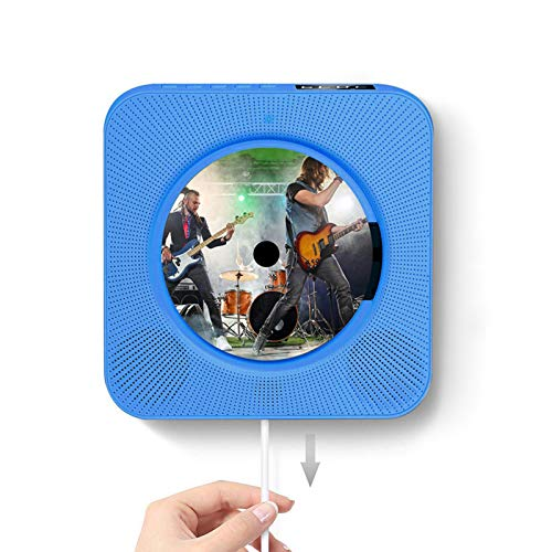 QIAO Portable CD Player with Bluetooth, HI-FI CD Player, Bluetooth 4.0 Real-Time Connection, Support TF Card/U Disk, LED Display with 6 Color Indicators, Pull-Wire Switch Design, for Home,Blue