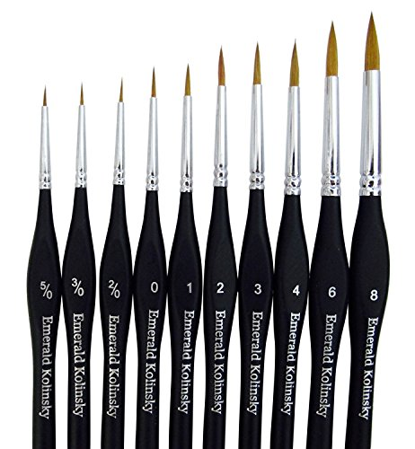 Best Professional Siberian Kolinsky Sable Detail Paint Brush, Value Set of 10, Miniature Brushes Will Keep a Fine Point and Spring, for Watercolor, Oil, Acrylic, Nail Art & Models