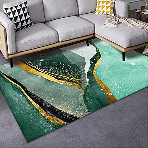 Alfombra Cama Verde alfombras Pasillo largas Moderna y Creativa Sala de Estar geométrica Dormitorio Simple luz de Lujo Estera para el hogar alfombras a Medida Online 100X160cm