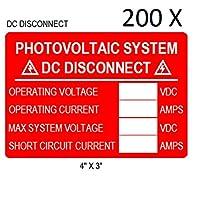 200プレミアムUV耐性Solar PV安全警告太陽電池システムラベルDC切断
