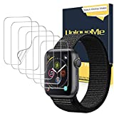 [6 Pack]UniqueMe Protector de pantalla para Apple Watch 38mm series 1/2/3, [Caso amistoso] [Película flexible] Soft HD Clear Anti-Scratch con