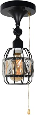 Baiwaiz Crystal Cage Semi Flush Mount Light with Pull Chain, 1-Light Black Metal Mini Modern Industrial Ceiling Light Adjusta