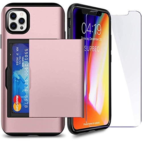 SUPBEC Compatible for iPhone 12 Pro Max Case with Card Holder and[ Screen Protector Tempered Glass x2Pcs][ Protective Series] Shockproof Silicone for iPhone 12 ProMax Wallet Case Cover-Rose Gold-6.7""
