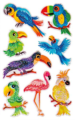 AVERY Zweckform 57290 Glittersticker, vogels 8 stickers (zelfklevende kleurrijke kinderstickers om te spelen, knutselen, verzamelen, voor vriendschapsboeken en poëziealbums)