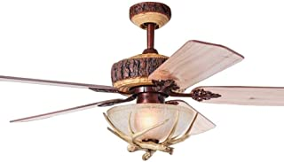 WestmHome 52 Inch Rustic Ceiling Fan With 1 Light Cover Indoor Home Decoration Living Room Antlers Industrial Fans Chandelier 5 Reversible Wood Blades Quiet
