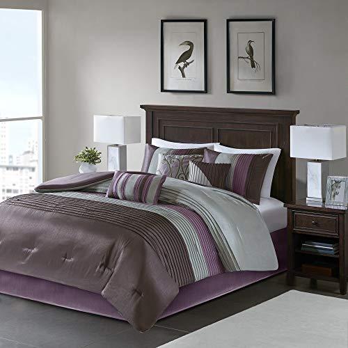 "Madison Park Amherst Faux Silk Comforter Set-Casual Contemporary Design All Season Down Alternative Bedding, Matching Shams, Bedskirt, Decorative Pillows, Cal King(104""x92""), Purple, 7 Piece"