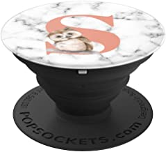 Cute Owl With Flowers Pink Rose Color Letter S Monogram - PopSockets Grip and Stand for Phones and Tablets