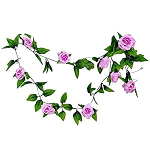 LEFV Artificial Rose Vine Garland Plastic Flowers Silk Floral Hanging Plants for Hotel Wedding Home Party Garden Indoor Outside Cemetery Decor, 8 Feet, Pack of 2, Purple
