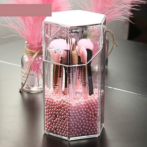 JMAHM Organizador de brochas de maquillaje, acrílico de alta calidad, resistente al polvo, con perlas blancas, azules y rosas, alrededor de 2800 partículas (Hexagón, rosa)
