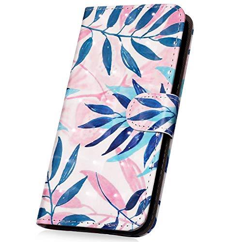 Surakey PU Leder Hülle für Nokia 3 Handyhülle Handytasche 3D Gemalt Muster Glitzer PU Tasche Schutzhülle Flip Case Brieftasche Etui Wallet Case Ständer Kartenfächer, Blau Blätter